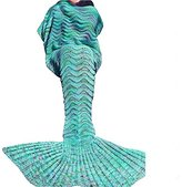 Mermaid Tail Blankets for Adult Girls Crochet Knitted,All Seasons Sofa Sleeping Bags Soft Blanket Mint Green