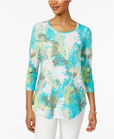 JM Collection Petite Printed Shirttail Top, Only at Macy's