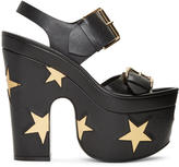 Stella McCartney Black Platform Buckles Stars Sandals