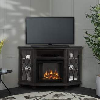 Real Flame Lynette Corner TV Stand for TVs up to 60 inches with Electric Fireplace Included Real Flame Color: Dark Gray