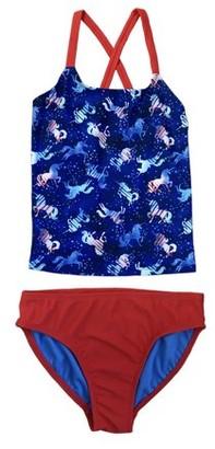 Wonder Nation Girls Cross-Back Printed Tankini Swimsuit, 2-Piece, Sizes 4-18 & Plus