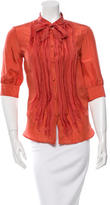 Fendi Pleated Button-Up Top