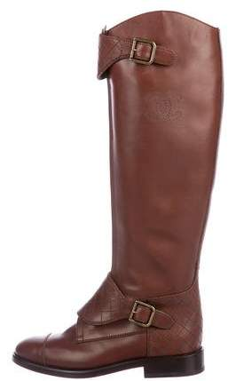 Chanel Quilted CC Knee-High Boots