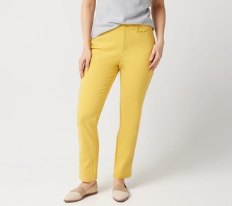 Denim & Co. Petite Double Weave Straight Leg Ankle Pants