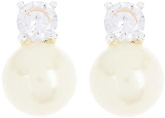 Lauren Ralph Lauren Imitation Pearl & Round Cut CZ Stud Earrings