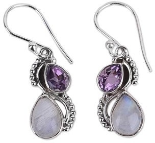 Novica Handmade Amethyst and Rainbow Moonstone Dangle Earrings