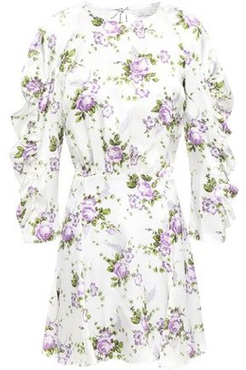 Les Rêveries Cutout Ruffle-trimmed Floral-print Silk-satin Mini Dress