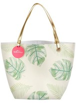 Kate Aspen Pretty Palms Canvas Tote Bag With Gold Handles