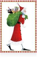 Caspari Santa with Toys Christmas Cards, Box of 16