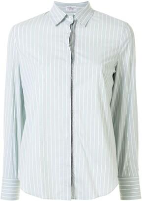 Brunello Cucinelli Stripe-Print Metal Detail Shirt