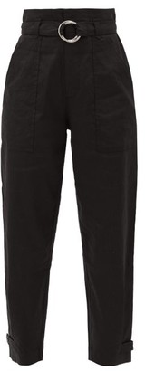 Frame Paperbag-waist Linen-blend Trousers - Black