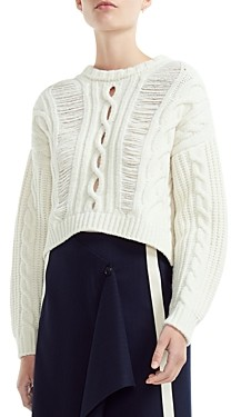 Maje Martina Openwork Cable Knit-Detail Sweater