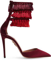 Aquazzura Claudia Schiffer Loulou's Tasseled Satin Pumps - Burgundy