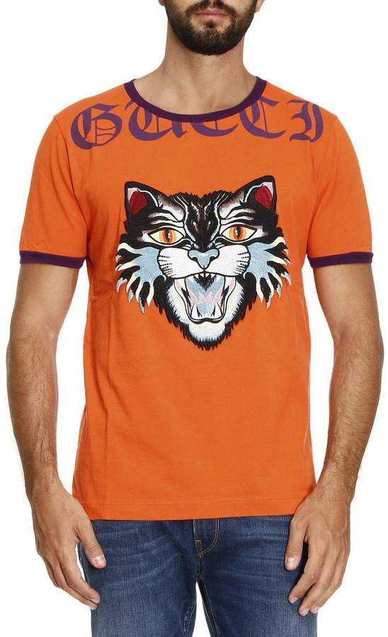 Gucci T-shirt T-shirt In Pure Cotton With Angry Cat Maxi Patch And Writing