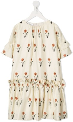 Oscar De La Renta Kids Floral Silk Dress