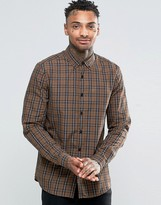 Asos Check Shirt In Camel With Long Sleeves