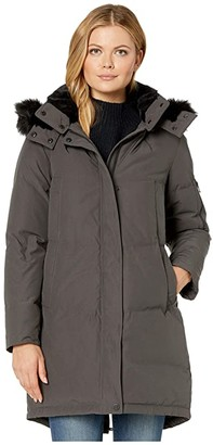 Vince Camuto Chevron Quilted Down Parka (Charcoal) Women's Coat