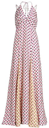 Olivia Palermo Printed Halter Silk Maxi Dress