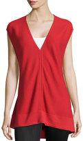 Josie Ribbed V-Neck Sweater, Tomato Red
