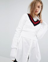 Cheap Monday Tipped V Neck Knit Sweater with Ladder Detail