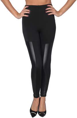 Isadora Women's Leggings Black - Black Faux Leather-Panel Leggings - Women