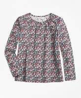 Brooks Brothers Cactus Flower Print Peasant Blouse