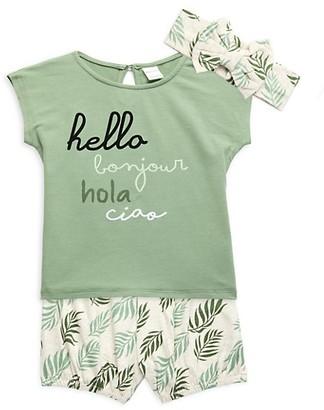Pl Baby Baby Girl's 3-Piece Headband, T-Shirt Shorts Set