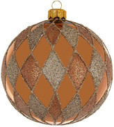 Christmas Shop 10CM BAUBLE GLASS HARLEQUIN PATTERN GLITTER BRONZE
