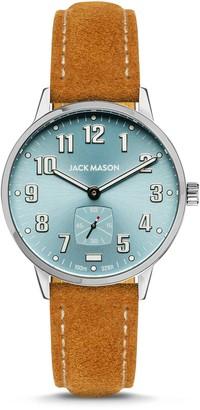 Jack Mason Men's Field Sub Second SS Blue Dial Tan Suede Strap Watch, 38mm