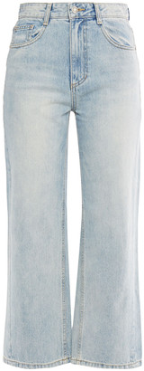 Sjyp Cropped Faded High-rise Wide-leg Jeans