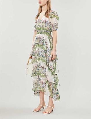 Maje Raffle floral-print woven midi dress
