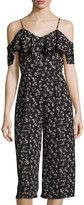 J.o.a. Flower-Print Culotte Jumpsuit, Black Pattern