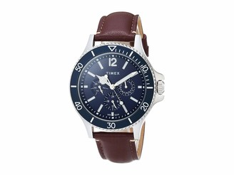 Timex Men's Harborside Multifunction 43mm Watch Black Dial & Silver-Tone Case with Black Genuine Leather Strap