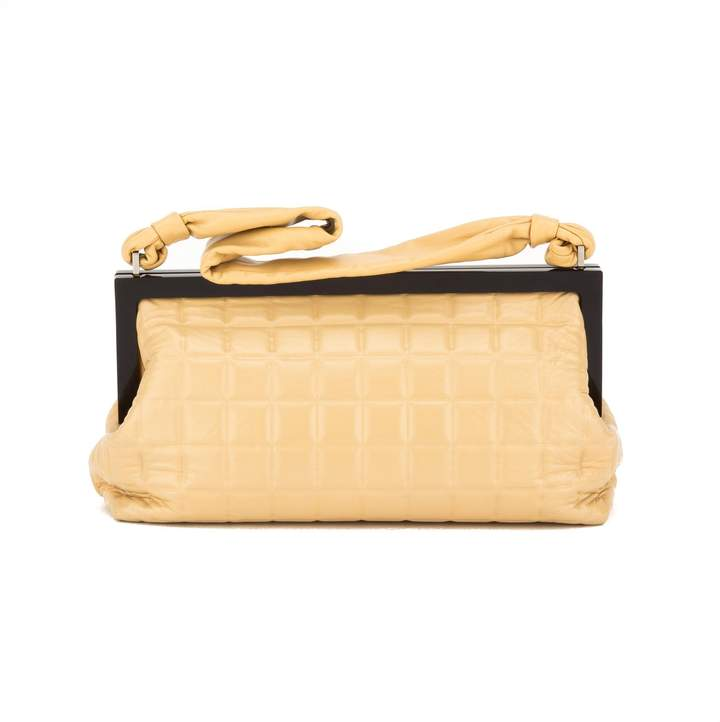 Chanel Tan Lambskin Chocolate Bar Quilted Frame Bag (Pre Owned)