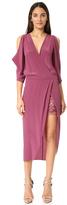 Michelle Mason Open Shoulder Dress with Lace