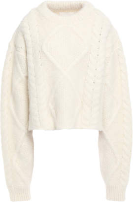 Maison Margiela Cropped Oversized Brushed Cable-knit Sweater