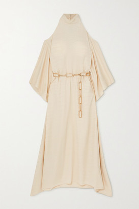Taller Marmo La Divina Cold-shoulder Belted Satin-jacquard Maxi Dress - Ivory