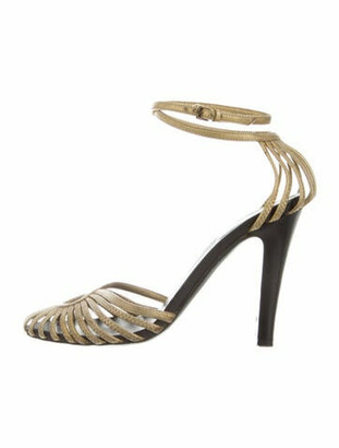 Gucci Leather Sandals Gold