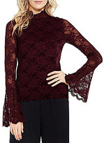 Vince Camuto Bell Sleeve Mock Neck Lace Top
