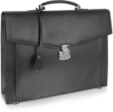 Fontanelli Men's Black Grained Leather Briefcase
