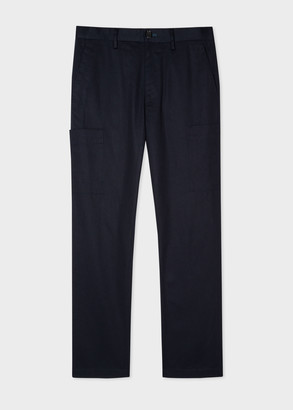 Men's Dark Navy Patch-Pocket Trousers