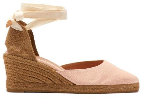b73518c7b35 Joyce 60 Canvas & Jute Espadrille Wedges - Womens - Light Pink