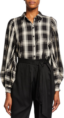 Mother of Pearl Tegan Plaid Balloon-Sleeve Shirt