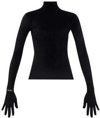 Richard Quinn Velvet Glove-sleeve Turtleneck Top - Womens - Black