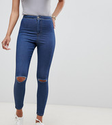 Asos DESIGN Rivington high waisted jeggings with frayed knee rip detail in mid stone blue wash