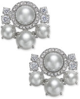 Kate Spade Silver-Tone Imitation Pearl and Pavé Cluster Stud Earrings