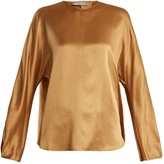 Vince Round-neck long-sleeved silk-satin top
