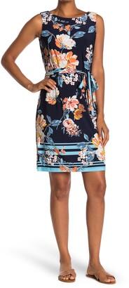 Sandra Darren Floral Belted Sleeveless Dress