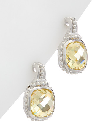 Judith Ripka Cushion Silver Cz Earrings