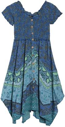 Angie Floral Print Smocked Bodice Dress